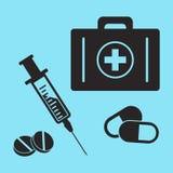 Equipo de primeros auxilios, jeringuilla, y píldoras Siluetas negras Ilustración del vector libre illustration