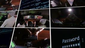 Equipo de profesionales de las TIC multiétnicos que trabajan con los ordenadores en oscuro, cortando el sistema informático Monta almacen de video