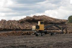 Equipo de registración en el molino de la madera de construcción Foto de archivo libre de regalías