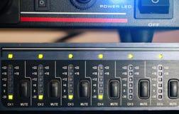 Equipo de sonido audio profesional con los botones Fotografía de archivo libre de regalías