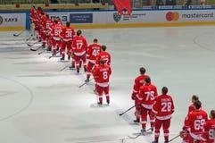 Equipo de Spartak en fila Imagen de archivo libre de regalías