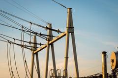 Equipo de un alto voltaje de redes eléctricas Imagen de archivo
