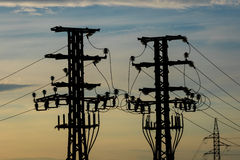 Equipo de un alto voltaje de redes eléctricas Fotografía de archivo
