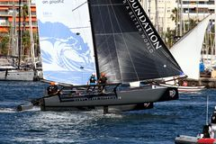 Equipo de Vestas de entrenamiento de los catamaranes de ProAM 32 Imagen de archivo