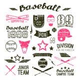 Equipo del campus del béisbol de los iconos stock de ilustración