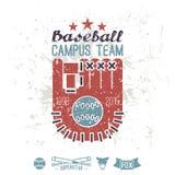 Equipo del campus del béisbol del emblema stock de ilustración