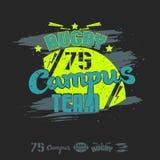Equipo del campus del emblema del rugbi stock de ilustración
