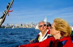 Equipo del capitán y del barco de vela Imagen de archivo libre de regalías
