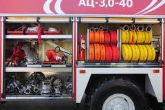 Equipo del coche de bomberos Imagen de archivo