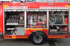 Equipo del coche de bomberos Fotografía de archivo