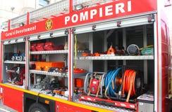 Equipo del coche de bomberos Imágenes de archivo libres de regalías