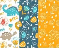 Equipo del diseño para la tela, lino Ejemplo de los dinosaurios y de las plantas ilustración del vector