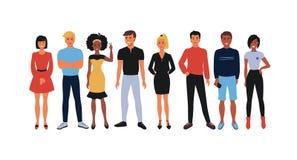Equipo del empleado de la historieta Grupo de los oficinistas, hombres sonrientes felices y mujeres de la gente joven uniéndose E ilustración del vector