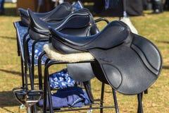 Equipo del Equestrian de las sillas de montar Fotos de archivo libres de regalías