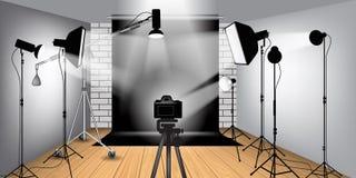 Equipo del estudio de la foto Imagenes de archivo