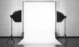Equipo del estudio de la foto en un fondo de la pared de ladrillo 3d Fotografía de archivo