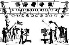 Equipo del estudio del canal de televisión Imagenes de archivo