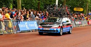 Equipo del Garmin en el Tour de France Foto de archivo
