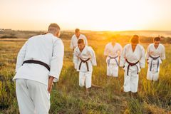 Equipo del karate en el entrenamiento con el amo en campo foto de archivo