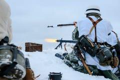Equipo del máquina-arma de Wehrmacht en la acción Fotografía de archivo