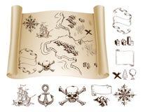 Equipo del mapa del tesoro Imagen de archivo libre de regalías