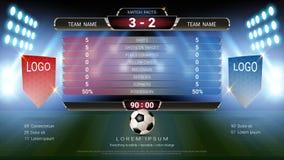 Equipo A del marcador del fútbol del fútbol contra el equipo B, plantilla gráfica de la difusión global del stats con la bandera, ilustración del vector