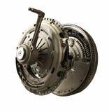 Equipo del montaje de embrague con la rueda volante aislada Imagen de archivo