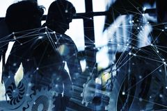 Equipo del negocio con el sistema de los engranajes Trabajo en equipo, sociedad y concepto de la integración con efecto de la red ilustración del vector