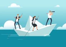Equipo del negocio con la navegación del líder en el barco de papel en el océano de oportunidades a la meta Trabajo en equipo y d ilustración del vector