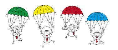 Equipo del negocio del paracaidista Fotografía de archivo libre de regalías
