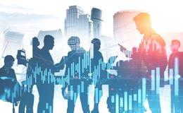 Equipo del negocio en ciudad y gráficos ilustración del vector