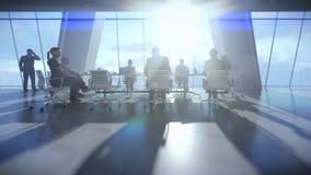 Equipo del negocio en la sala de conferencias, puesta del sol del timelapse de la vista posterior ilustración del vector