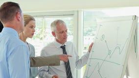 Equipo del negocio que habla del gráfico en el whiteboard almacen de video