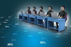 Equipo del negocio que mira un ordenador portátil Imágenes de archivo libres de regalías