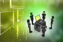 Equipo del negocio que mira un ordenador portátil Fotografía de archivo