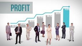 Equipo del negocio que se opone a gráfico rentable