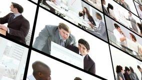 Equipo del negocio que tiene una sesión de la reunión de reflexión almacen de metraje de vídeo