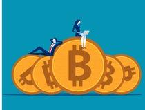 Equipo del negocio que trabaja y relajado en bitcoin Ejemplo del vector del negocio del concepto stock de ilustración