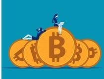 Equipo del negocio que trabaja y relajado en bitcoin Ejemplo del vector del negocio del concepto libre illustration