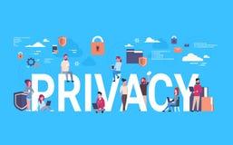 Equipo del negocio sobre fondo infographic isométrico de la privacidad de datos de GDPR protección de la red del general personal ilustración del vector