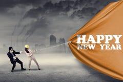 Equipo del negocio y texto del Año Nuevo Imagen de archivo