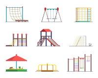Equipo del parque de atracciones Patio en el fondo blanco libre illustration