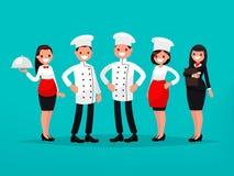Equipo del restaurante Cocinero, cocinero, encargado, camarero Vector Illustratio Stock de ilustración