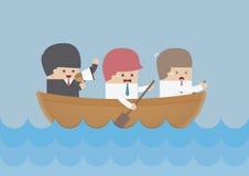 Equipo del rowing del hombre de negocios, concepto del trabajo en equipo y de la dirección Imágenes de archivo libres de regalías