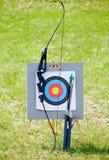 Equipo del tiro al arco de la blanco Imagen de archivo libre de regalías