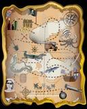 Equipo del vector de los elementos del mapa del pirata ilustración del vector