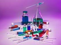 Equipo del vidrio del laboratorio médico Foto de archivo libre de regalías