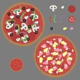 Equipo dibujado mano del vector de la pizza Fotografía de archivo