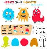 Equipo divertido de la creación de los monstruos de la historieta Cree su propio sistema del monstruo Ilustración del vector ilustración del vector