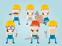 Equipo divertido del trabajador de construcción de la historieta ilustración del vector